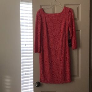 NWT Adrianna Pappell Pink (Coral) Midi Lace Dress